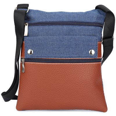 Tote Shoulder Messenger Crossbody Motorcycle PU Leather Denim Spliced Women Bag