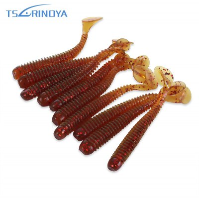 TSURINOYA 10pcs Artificial Soft Luminous Fish Bait