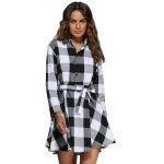 Women Trendy Turn Down Collar Color Block A-Line Plaid Dress photo