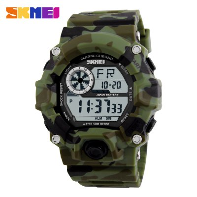 Skmei 1019 LED Sports Military Watch 50M Water ResistantSports Watches<br>Skmei 1019 LED Sports Military Watch 50M Water Resistant<br><br>Brand: Skmei<br>People: Unisex table<br>Watch style: Fashion&amp;Casual,LED,Military,Outdoor Sports<br>Available color: Black,Blue,Red<br>Shape of the dial: Round<br>Movement type: Digital watch<br>Display type: Digital<br>Case material: PC<br>Band material: PU<br>Clasp type: Pin buckle<br>Special features: Date,Day,EL Back-light,Stopwatch<br>Water resistance : 50 meters<br>The dial thickness: 1.5 cm / 0.6 inches<br>The dial diameter: 4.5 cm / 1.8 inches<br>The band width: 2.2 cm / 0.9 inches<br>Product weight: 0.050 kg<br>Package weight: 0.138 kg<br>Product size (L x W x H): 26.20 x 4.50 x 1.50 cm / 10.31 x 1.77 x 0.59 inches<br>Package size (L x W x H): 7.50 x 7.50 x 7.70 cm / 2.95 x 2.95 x 3.03 inches<br>Package Contents: 1 x Skmei 1019 Military LED Watch