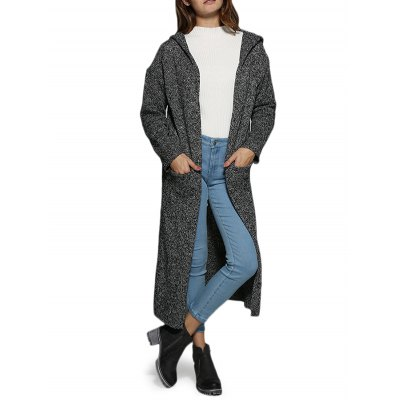 Hooded Pocket Women Long Coat