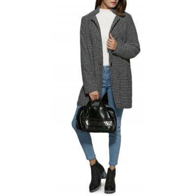 Turn Down Collar Houndstooth Pocket Women Coat