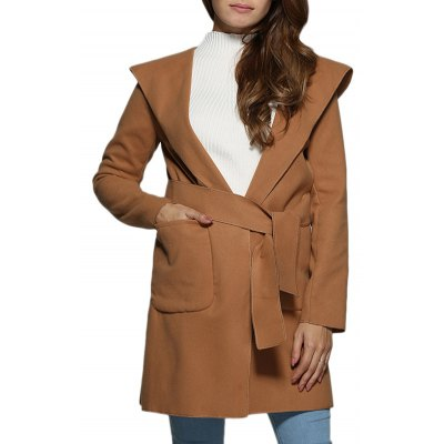 Women Hooded Front Pocket Pure Color Coat