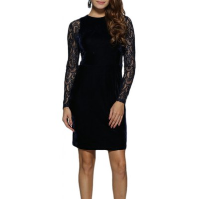 Women Elegant Round Collar Lace Spliced Sheath Velvet Dress