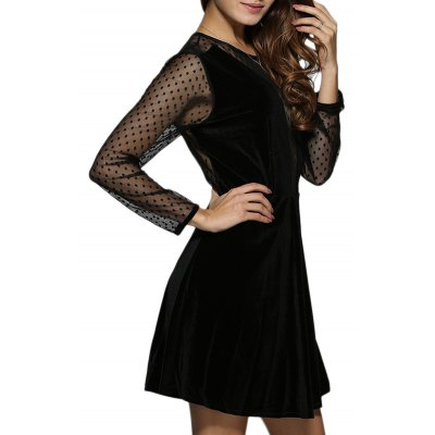 Round Collar Sheer Spliced A-Line Women Velvet Dress