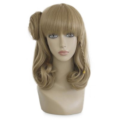 Long Natural Straight Pear Volume Flaxen Wigs Full Bangs