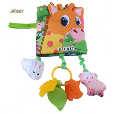 Jollybaby Cute Baby Cartoon Animal Plant Print Cloth Book with Plush Tolo Toy Teether Vibrating Bauble