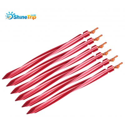 SHINETRIP 6pcs Spiral Tent Stake Peg with Reflective Rope