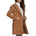 cheap Women Hooded Front Pocket Pure Color Coat
