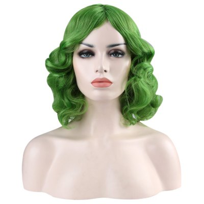 Texture Medium Curly Green Wigs Shaggy Perm Hairstyle