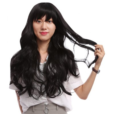 Long Slightly Wavy Side Parting Black Wigs Heat Resistant Synthetic Hair for Women