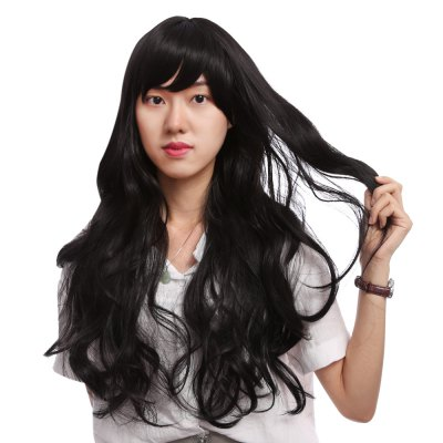 Long Slightly Wavy Side Parting Black Wigs