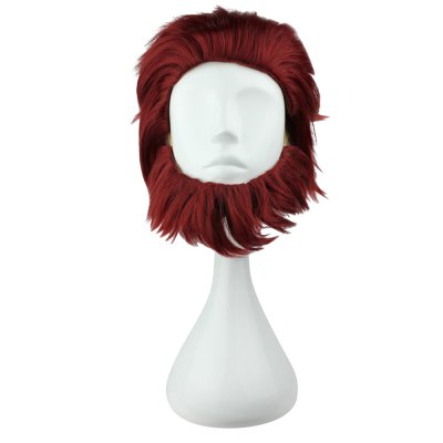 Straight Short Red Slicked Back Wigs with Beard Anime Cosplay Costume for Fate Zero Rider Emperor Figure