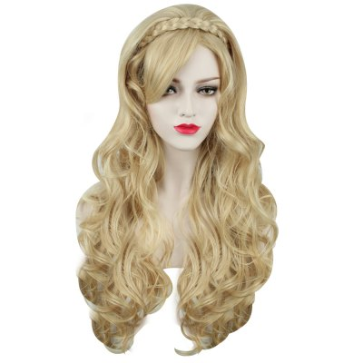 Sexy Women Long Curly Golden Wigs Heat Resistant Hair for Stage Performance