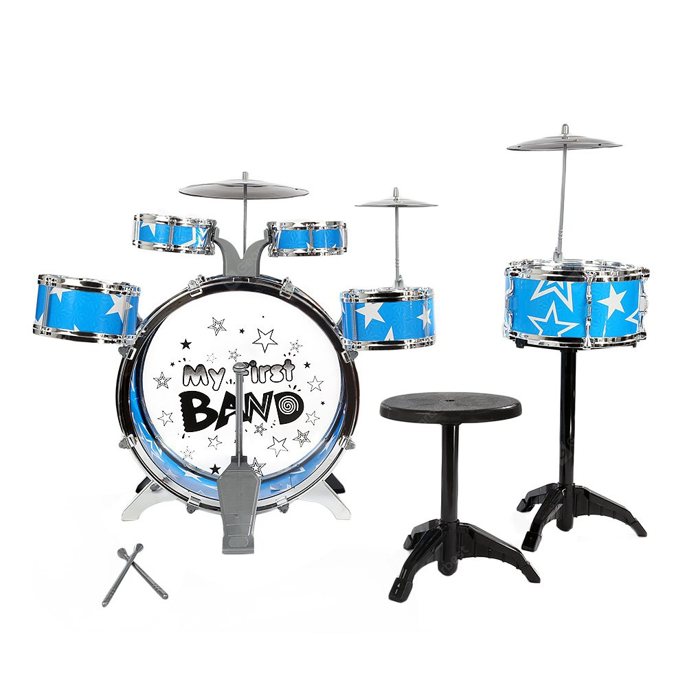 Kids Drums Kit Musical Instrument Toy with Cymbals Stool