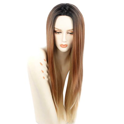 Long Straight Central Parting Gradient Mixed Color Wigs