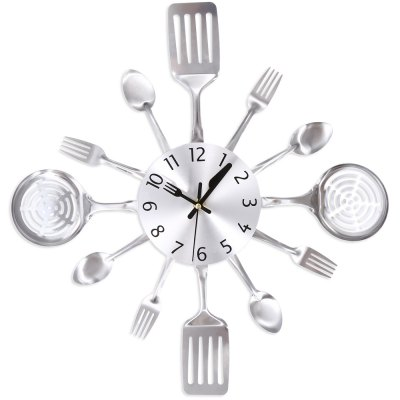 Metal Knife Fork Wall Clock