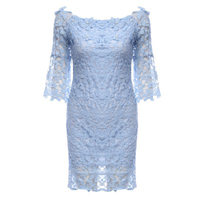 Off The Shoulder Beaded Flare Sleeve Women Lace Dress