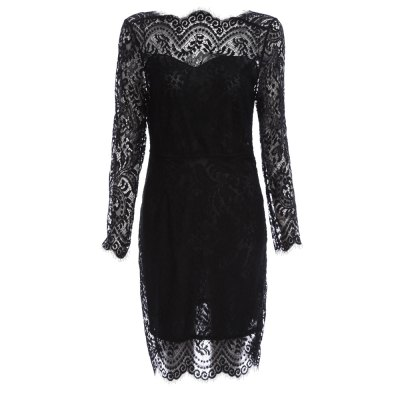 Women Elegant Lace Spliced Sheath Black Dress