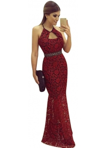 Women Sexy Halter Backless Lace Maxi Fishtail Dress