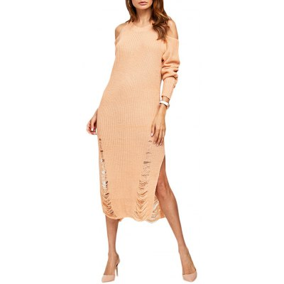 Women Simple Cold Shoulder Frayed Sweater Dress