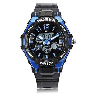 HOSKA HD028S Children Dual Movt WatchKids Watches<br>HOSKA HD028S Children Dual Movt Watch<br><br>Band Length: 7.48 inch<br>Band Material Type: Rubber<br>Band Width: 16mm<br>Case material: Plastic<br>Case Shape: Round<br>Clasp type: Pin Buckle<br>Dial Diameter: 1.38 inch<br>Dial Display: Analog-Digital<br>Dial Window Material Type: Plastic<br>Feature: Alarm,Back Light,Chronograph,Day,Luminous<br>Gender: Children<br>Movement: Digital,Quartz<br>Style: Sport<br>Water Resistance Depth: 50m<br>Product weight: 0.039 kg<br>Package weight: 0.061 kg<br>Product Size(L x W x H): 22.50 x 4.00 x 1.50 cm / 8.86 x 1.57 x 0.59 inches<br>Package Size(L x W x H): 23.50 x 5.00 x 2.50 cm / 9.25 x 1.97 x 0.98 inches<br>Package Contents: 1 x Watch