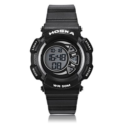 HOSKA H020S Children LED Digital WatchKids Watches<br>HOSKA H020S Children LED Digital Watch<br><br>Band Length: 7.09 inch<br>Band Material Type: Rubber<br>Band Width: 16mm<br>Case material: Plastic<br>Case Shape: Round<br>Clasp type: Pin Buckle<br>Dial Diameter: 1.38 inch<br>Dial Display: Digital<br>Dial Window Material Type: Plastic<br>Feature: Alarm,Back Light,Chronograph,Date,Day<br>Gender: Children<br>Movement: Digital<br>Style: Sport<br>Water Resistance Depth: 50m<br>Product weight: 0.042 kg<br>Package weight: 0.064 kg<br>Product Size(L x W x H): 22.00 x 4.00 x 1.00 cm / 8.66 x 1.57 x 0.39 inches<br>Package Size(L x W x H): 23.00 x 5.00 x 2.00 cm / 9.06 x 1.97 x 0.79 inches<br>Package Contents: 1 x Watch