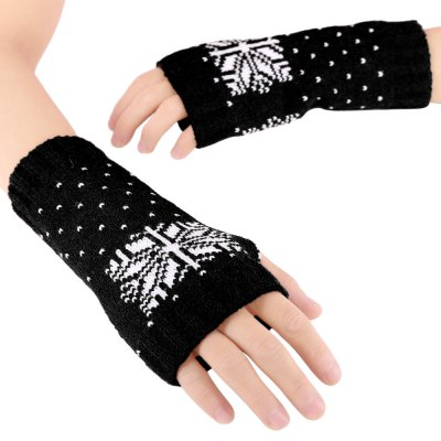 Snow Pattern Ladies Warm Open Finger Christmas Gloves