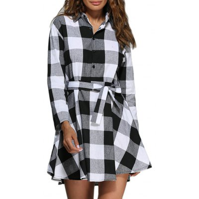 Women Trendy Turn Down Collar Color Block A-Line Plaid Dress