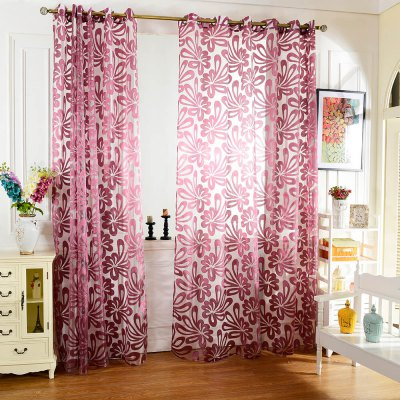 100 x 250cm Flower Printed Tulle Curtains