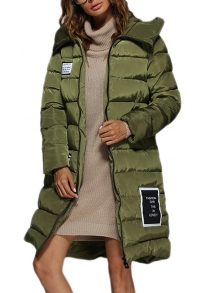 Women Trendy Hooded Patchwork Down Coat