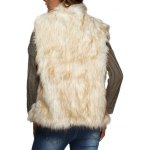 Women Chic Collarless Faux Fur Coat for sale