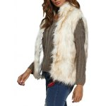 Women Chic Collarless Faux Fur Coat deal