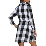 Women Trendy Turn Down Collar Color Block A-Line Plaid Dress for sale