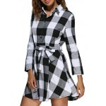 cheap Women Trendy Turn Down Collar Color Block A-Line Plaid Dress