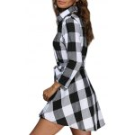 Women Trendy Turn Down Collar Color Block A-Line Plaid Dress deal