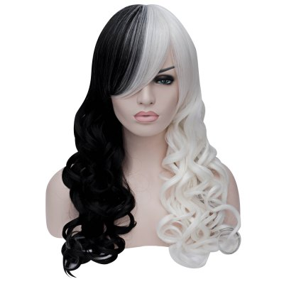 Women Sexy Long Curly Black White Full Wigs Heat-resistant Synthetic Cosplay Hair