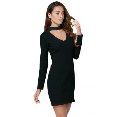 Women Brief Halter Cut Out Bodycon Black Dress