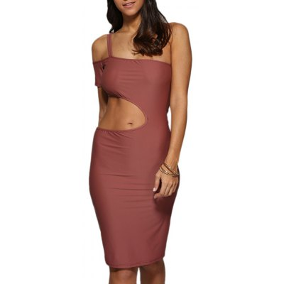 Women Sexy One Shoulder Cut Out Bodycon Dress