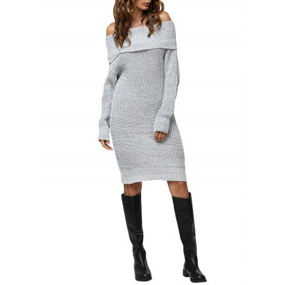 Women Sexy Off The Shoulder Pure Color Sweater Dress
