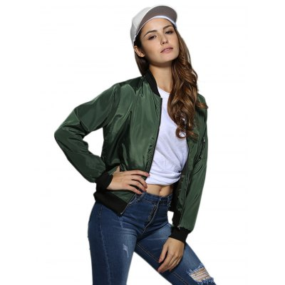 Women Stand Collar Pure Color Jacket