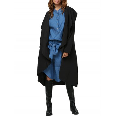 Women Simple Style Turn Down Collar Loose-Fitting Trench Coat