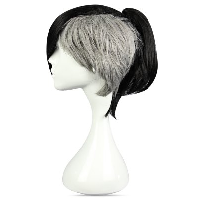 Short Black Gray Wigs Side Bangs Anime Cosplay for Tokyo Ghoul Uta Figure