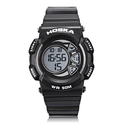 HOSKA H020B Children LED Digital WatchKids Watches<br>HOSKA H020B Children LED Digital Watch<br><br>Band Length: 7.87 inch<br>Band Material Type: Rubber<br>Band Width: 20mm<br>Case material: Plastic<br>Case Shape: Round<br>Clasp type: Pin Buckle<br>Dial Diameter: 1.57 inch<br>Dial Display: Digital<br>Dial Window Material Type: Plastic<br>Feature: Alarm,Back Light,Chronograph,Date,Day<br>Gender: Children<br>Movement: Digital<br>Style: Sport<br>Water Resistance Depth: 50m<br>Product weight: 0.050 kg<br>Package weight: 0.072 kg<br>Product Size(L x W x H): 24.00 x 4.50 x 1.00 cm / 9.45 x 1.77 x 0.39 inches<br>Package Size(L x W x H): 25.00 x 5.50 x 2.00 cm / 9.84 x 2.17 x 0.79 inches<br>Package Contents: 1 x Watch