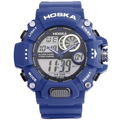 HOSKA HD031B Children Dual Movt WatchKids Watches<br>HOSKA HD031B Children Dual Movt Watch<br><br>Band Length: 8.07 inch<br>Band Material Type: Rubber<br>Band Width: 22mm<br>Case material: Plastic<br>Case Shape: Round<br>Clasp type: Pin Buckle<br>Dial Diameter: 1.97 inch<br>Dial Display: Analog-Digital<br>Dial Window Material Type: Plastic<br>Feature: Alarm,Back Light,Chronograph,Date,Day<br>Gender: Children<br>Movement: Digital,Quartz<br>Style: Sport<br>Water Resistance Depth: 50m<br>Product weight: 0.066 kg<br>Package weight: 0.088 kg<br>Product Size(L x W x H): 25.00 x 5.50 x 1.50 cm / 9.84 x 2.17 x 0.59 inches<br>Package Size(L x W x H): 26.00 x 6.50 x 2.50 cm / 10.24 x 2.56 x 0.98 inches<br>Package Contents: 1 x Watch