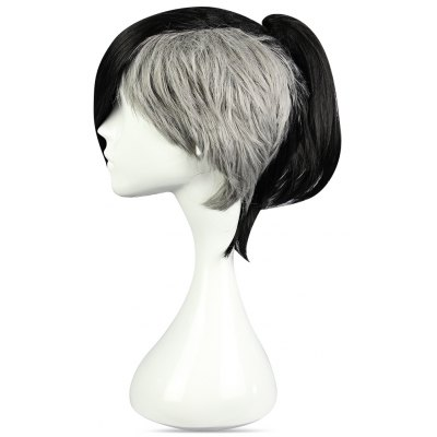 Short Black Gray Wigs Side Bangs