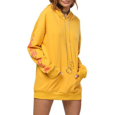 Women Chic Front Pocket Printed Yellow Hoodie