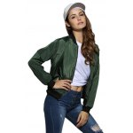 cheap Women Stand Collar Pure Color Jacket