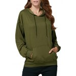 Women Casual Hooded Front Pocket Green Hoodie