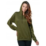 cheap Women Casual Hooded Front Pocket Green Hoodie